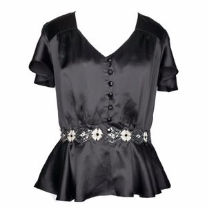 Milly Black Silk Peplum Blouse with Sequin Detail